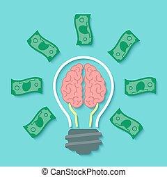 argent, concept, idée, cerveau