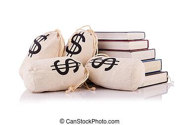 argent, concept, livres, education, coûteux