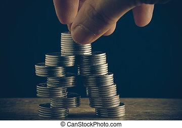 argent, concept, pièces, baht, thaï, et, main, à, filtre, effet, retro, vendange, style