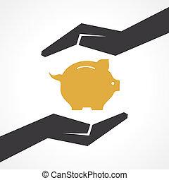 argent, concept, sauver
