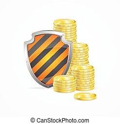 argent, concept., vecteur, sécurité
