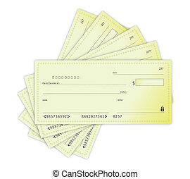 argent, conception, chèques, illustration