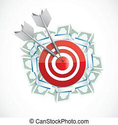 argent, conception, cible, illustration