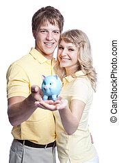argent, couple, économie, jeune