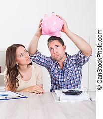 argent, couple, piggybank, prévoir