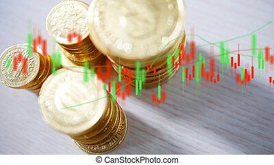 argent, croissance affaires, pièces, graph., financier, concept.