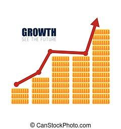 argent, croissance financière, conception, business