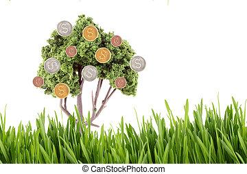 argent, croissant, sur, arbre, à, herbe