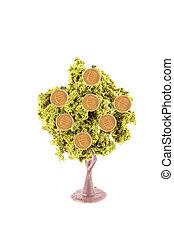 argent, croissant, sur, arbre