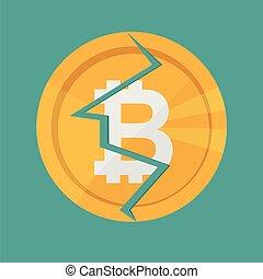 argent., crypto, virtuel, bitcoin, monnaie, vecteur, icône internet