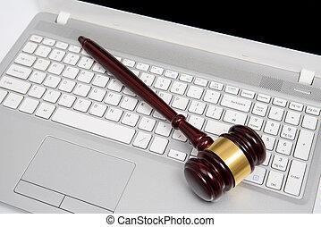 argent, cyber, droit & loi, ou, concept., ligne, juge, gavel...