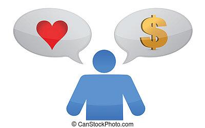 argent, décision, vs, amour, icône