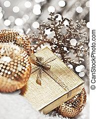 argent, décorations, babioles, cadeau, noël