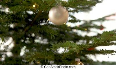 argent, décorer, verre, noël, balles, arbre