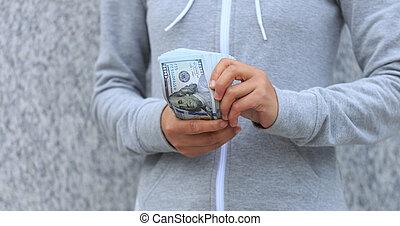 argent, dénombrement, closeup, femelle transmet