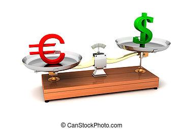 argent, déséquilibré, illustration, balances