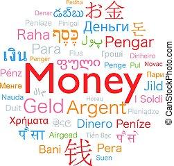 argent, dans, étranger, langues