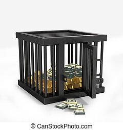 argent, dans, cage