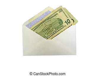 argent, dans, enveloppe