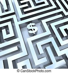 argent, dans, labyrinthe, -, signe dollar, dans, milieu