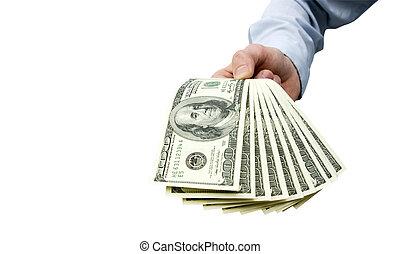 argent, dans, main