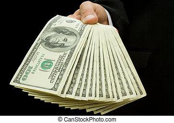 argent, dans, mains