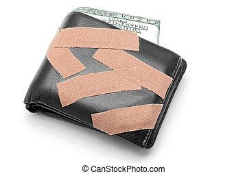 argent, dans, portefeuille, à, monde médical, plâtre