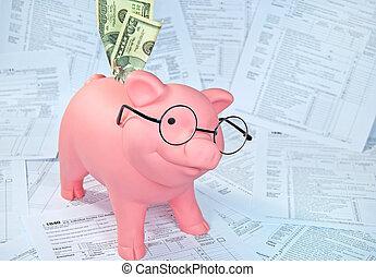 argent, dans, tirelire, sur, formulaire fiscal