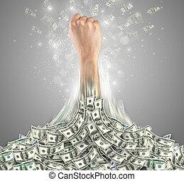 argent, dehors, tas, éclatement, main
