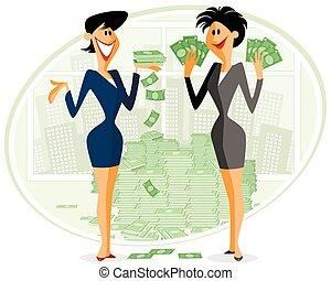 argent, deux, femmes affaires
