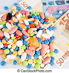 argent, différent, couleurs, pilules