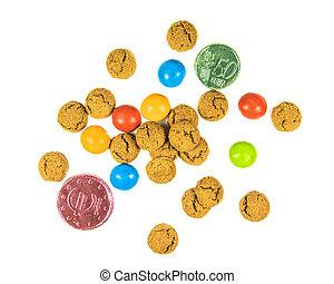 argent, dispersé, biscuits, tas, pepernoten, chocolat