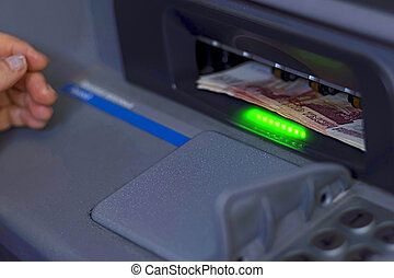 argent, distributeur billets banque, inséré, paquet, papier, récepteur, ouvert