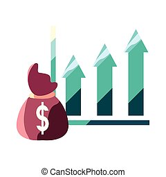 argent, dollar, diagramme, sac