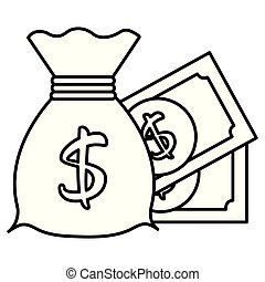 argent, dollar, sac