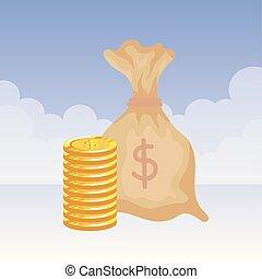 argent, dollars, pièces, sac
