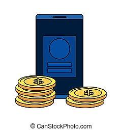 argent, dollars, pièces, smartphone