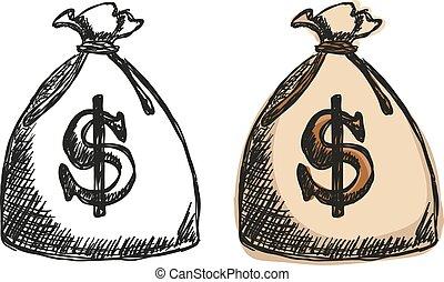 argent, dollars, sac