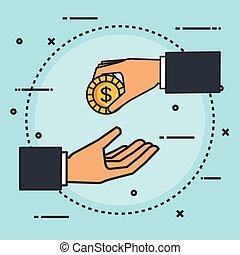 argent donnant, faire, signe, main, donation, monnaie