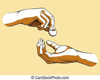 argent donnant, mains, réception, &