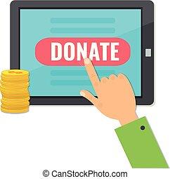 argent, donner, informatique, tablet.