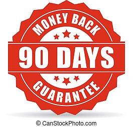 argent, dos, jours, 90, garantie, icône