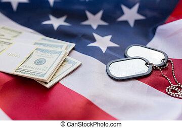 argent, drapeau, dollar, américain, militaire, insignes