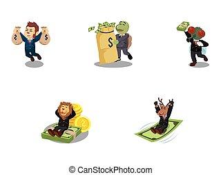 argent, ensemble, animal, business, dessin animé