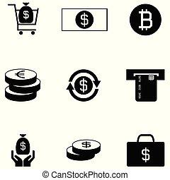 argent, ensemble, icône