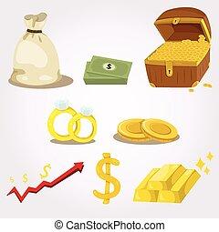 argent, ensemble, illustrateur, icône