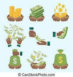 argent, ensemble, noir, main