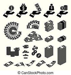 argent, ensemble, noir, main, icônes