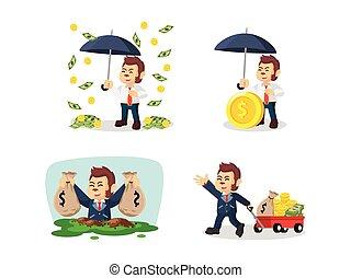 argent, ensemble, quelque chose de louche, dessin animé