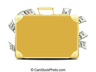 argent, entiers, valise